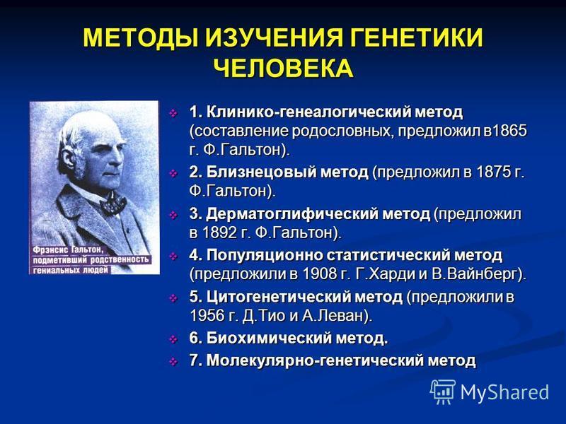 МЕТОДЫ ИЗУЧЕНИЯ ГЕНЕТИКИ ЧЕЛОВЕКА 1. Клинико-генеалогический метод (составление родословных, предложил в 1865 г. Ф.Гальтон). 2. Близнецовый метод (предложил в 1875 г. Ф.Гальтон). 3. Дерматоглифический метод (предложил в 1892 г. Ф.Гальтон). 4. Популяц
