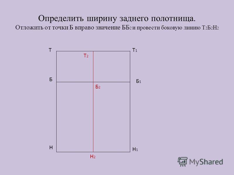 Определить ширину заднего полотнища. Отложить от точки Б вправо значение ББ 2 и провести боковую линию Т 2 Б 2 Н 2 ТТ1Т1 Б1Б1 Н1Н1 Б Н Т 2 Б2Б2 Н2Н2