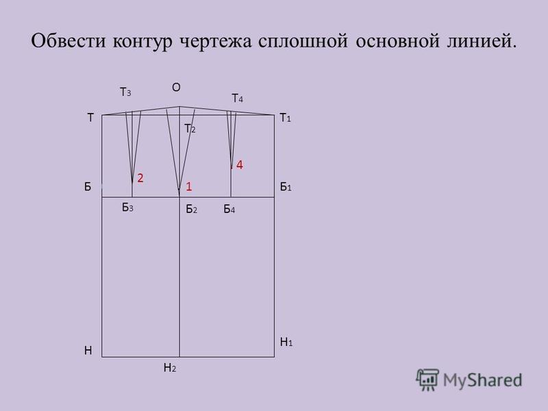 Обвести контур чертежа сплошной основной линией. Т Б Н Н2Н2 Т2Т2 Т1Т1 Б1Б1 Н1Н1 О Т3Т3 Б3Б3 Т4Т4 Б4Б4 Б2Б2 1.. 2. 4