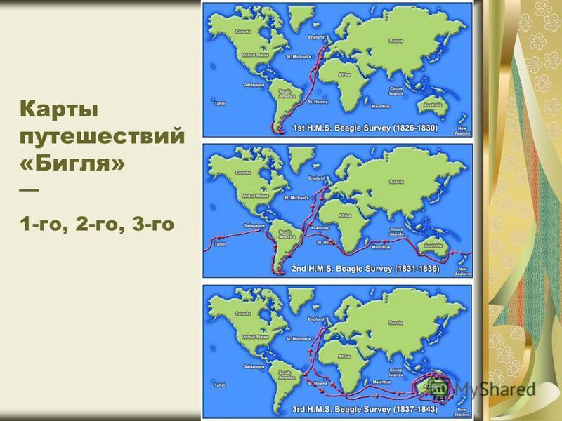Карты путешествий «Бигля» 1-го, 2-го, 3-го