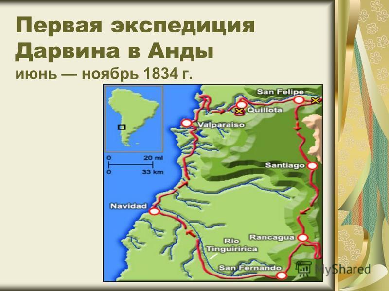 Первая экспедиция Дарвина в Анды июнь ноябрь 1834 г.