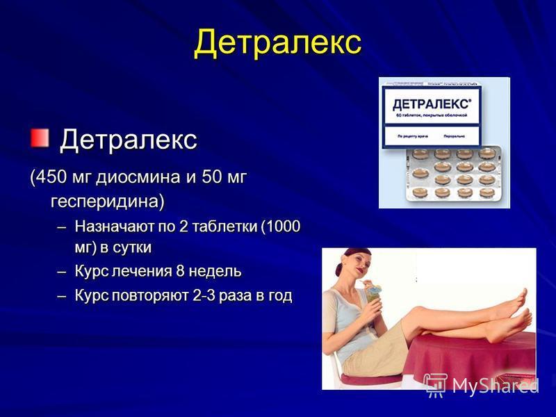 Детралекс Детралекс Детралекс (450 мг диосмина и 50 мг гесперидина) –Назначают по 2 таблетки (1000 мг) в сутки –Курс лечения 8 недель –Курс повторяют 2-3 раза в год