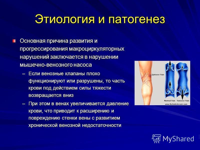 Этиология и патогенез Основная причина развития и прогрессирования микроциркуляторных нарушений заключается в нарушении мышечно-венозного насоса –Если венозные клапаны плохо функционируют или разрушены, то часть крови под действием силы тяжести возвр