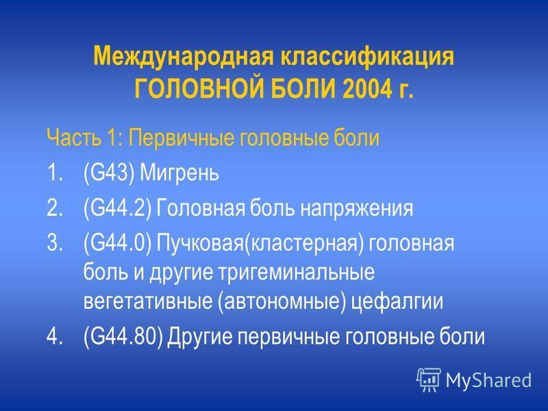 Международная классификация ГОЛОВНОЙ БОЛИ 2004 г. Часть 1: Первичные головные боли 1.(G43) Мигрень 2.(G44.2) Головная боль напряжения 3.(G44.0) Пучковая(кластерная) головная боль и другие тригеминальные вегетативные (автономные) цефалгии 4.(G44.80) Д