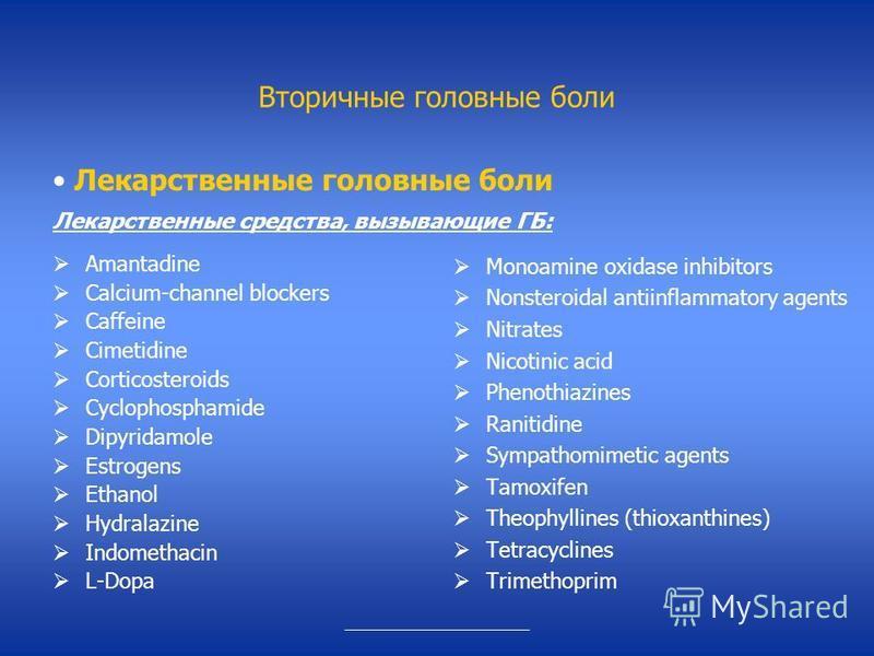Вторичные головные боли Amantadine Calcium-channel blockers Caffeine Cimetidine Corticosteroids Cyclophosphamide Dipyridamole Estrogens Ethanol Hydralazine Indomethacin L-Dopa Monoamine oxidase inhibitors Nonsteroidal antiinflammatory agents Nitrates