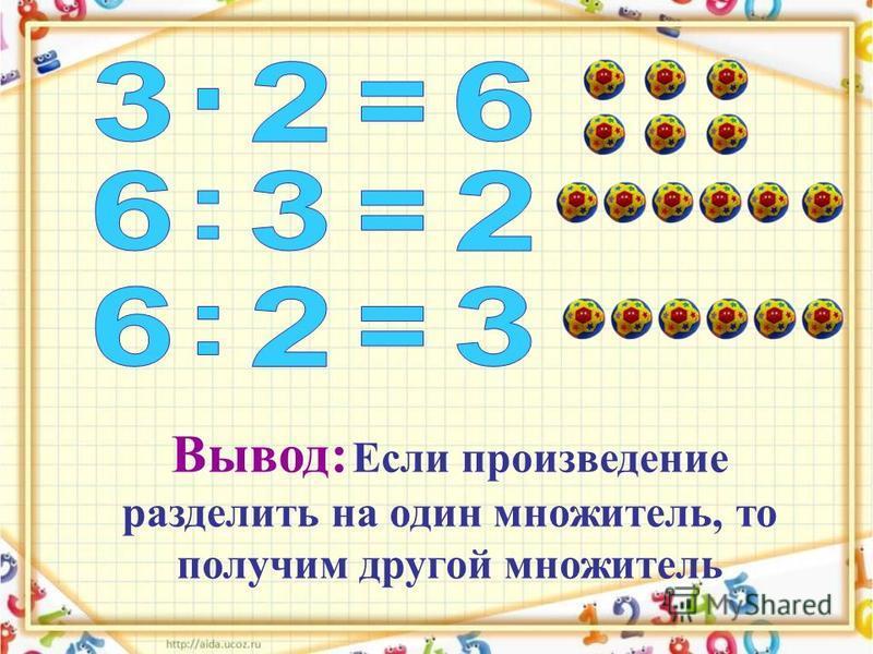 Вывод: Если произведение разделить на один множитель, то получим другой множитель