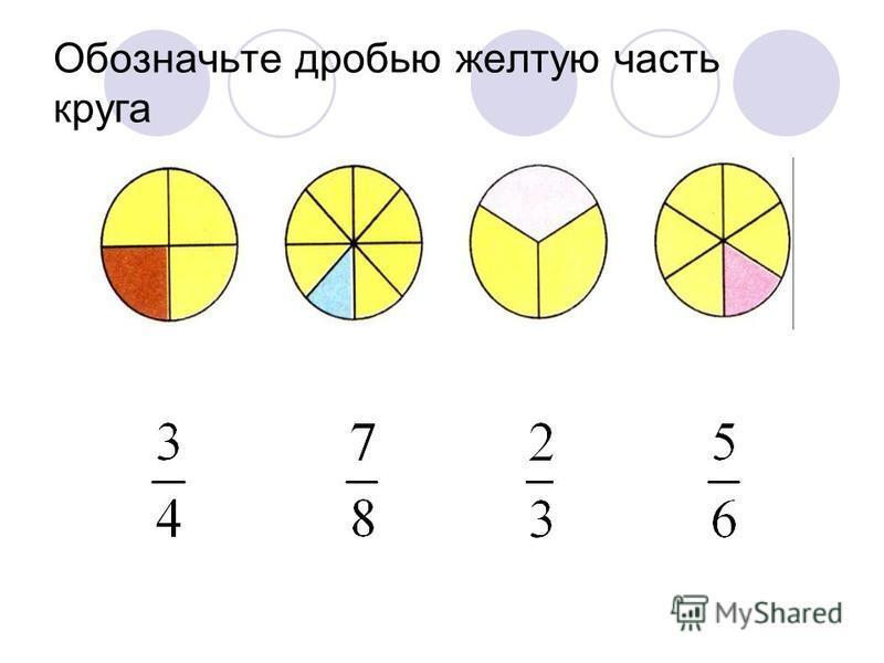 Обозначьте дробью желтую часть круга