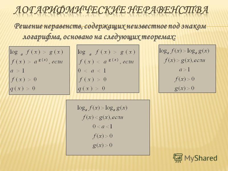 Решение неравенств, содержащих неизвестное под знаком логарифма, основано на следующих теоремах: