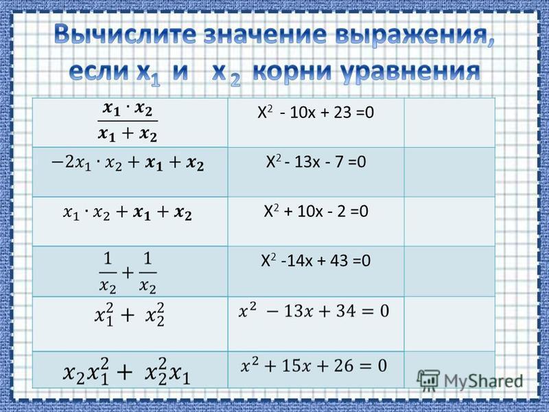 X 2 - 10x + 23 =0 X 2 - 13x - 7 =0 X 2 + 10x - 2 =0 X 2 -14x + 43 =0