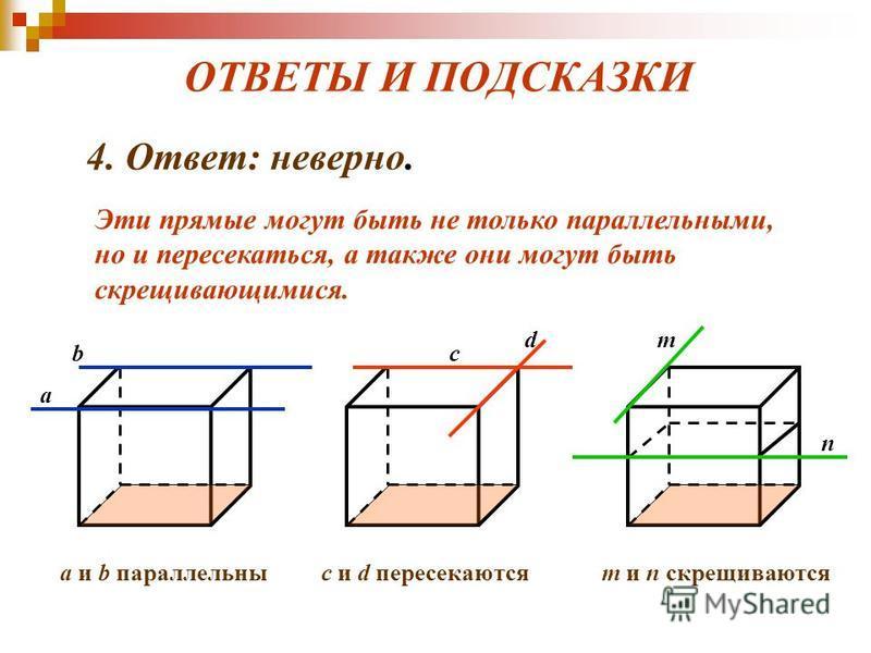 ОТВЕТЫ И ПОДСКАЗКИ 4. Ответ: неверно. Эти прямые могут быть не только параллельными, но и пересекаться, а также они могут быть скрещивающимися. a bc d m n a и b параллельныс и d пересекаютсяm и n скрещиваются