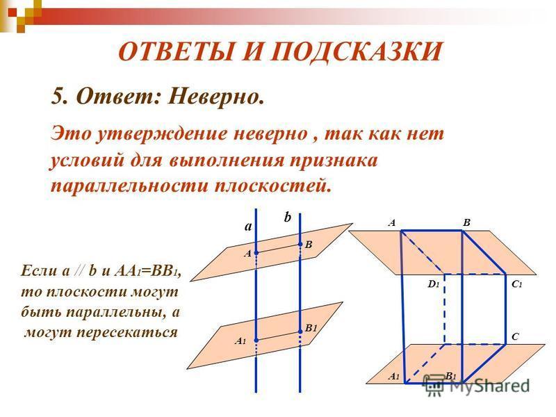 ОТВЕТЫ И ПОДСКАЗКИ 5. Ответ: Неверно. Это утверждение неверно, так как нет условий для выполнения признака параллельности плоскостей. а b А В А1А1 В1В1 Если a // b и АА 1 =BВ 1, то плоскости могут быть параллельны, а могут пересекаться АB C1C1 А1А1 B