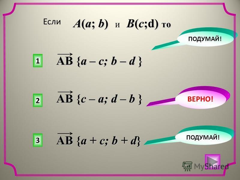 2 1 3 ПОДУМАЙ! ВЕРНО! ПОДУМАЙ! Если A(a; b) B(c;d) то A(a; b) и B(c;d) то AB {a – c; b – d } AB {c – a; d – b } AB {a + c; b + d}
