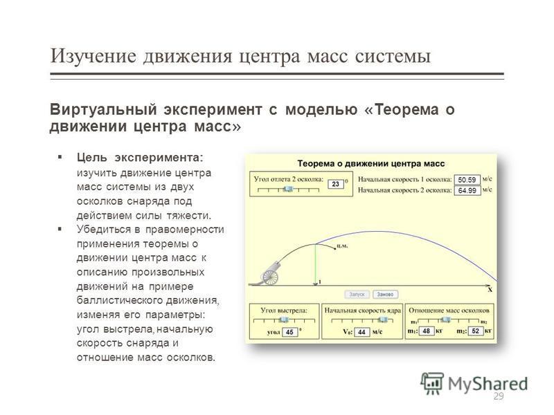 Изучение движения центра масс системы Виртуальный эксперимент с моделью « Теорема о движении центра масс » Цель эксперимента : изучить движение центра масс системы из двух осколков снаряда под действием силы тяжести. Убедиться в правомерности примене