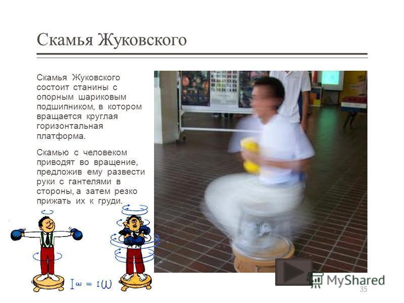 Скамья Жуковского Скамья Жуковского состоит станины с опорным шариковым подшипником, в котором вращается круглая горизонтальная платформа. Скамью с человеком приводят во вращение, предложив ему развести руки с гантелями в стороны, а затем резко прижа