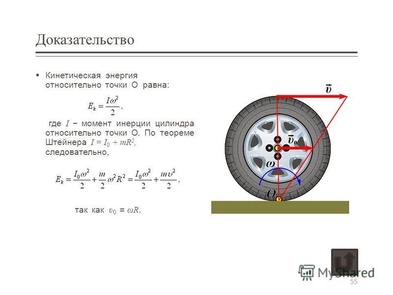 Доказательство Кинетическая энергия относительно точки О равна : где I – момент инерции цилиндра относительно точки О. По теореме Штейнера I = I 0 + mR 2, следовательно, так как υ 0 = ωR. 55