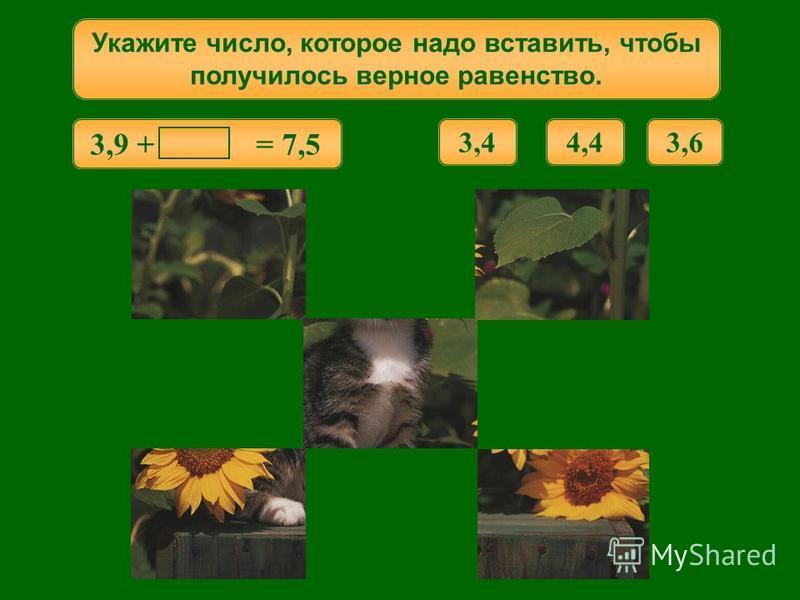 1,7 + = 5,0 Укажите число, которое надо вставить, чтобы получилось верное равенство. 6,73,34,3