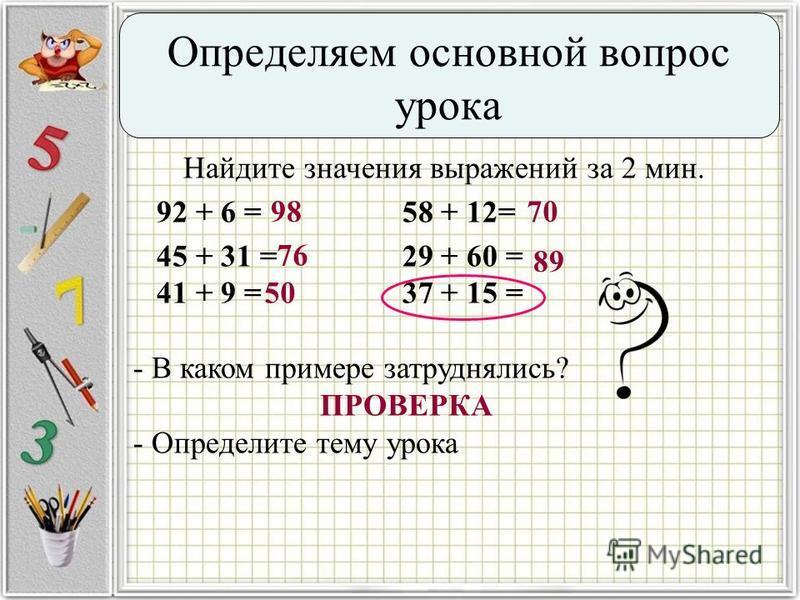 Найдите значения выражений за 2 мин. 92 + 6 = 58 + 12= 45 + 31 = 29 + 60 = 41 + 9 = 37 + 15 = - В каком примере затруднялись? ПРОВЕРКА - Определите тему урока 98 76 50 70 89 Определяем основной вопрос урока