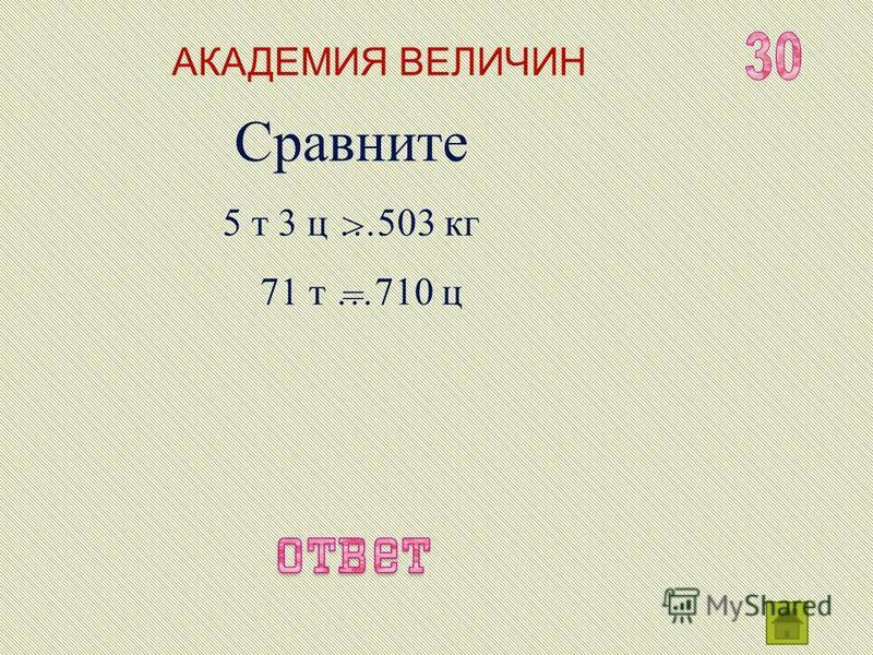АКАДЕМИЯ ВЕЛИЧИН Вырази в более крупных единицах измерения: 1200 кг 30 ц 578 000 000 г = 1 т 2 ц = 3 т = 578 т