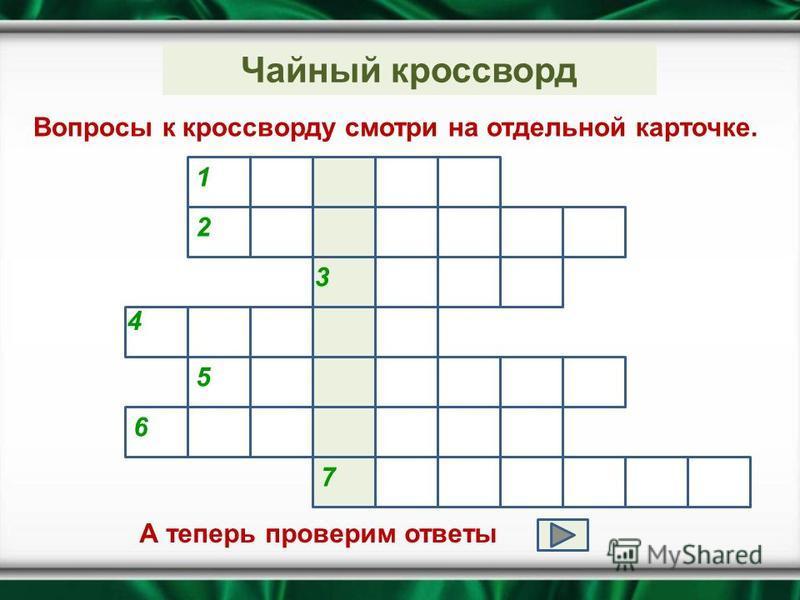Чайный кроссворд Вопросы к кроссворду смотри на отдельной карточке. 1 2 7 3 4 5 6 А теперь проверим ответы