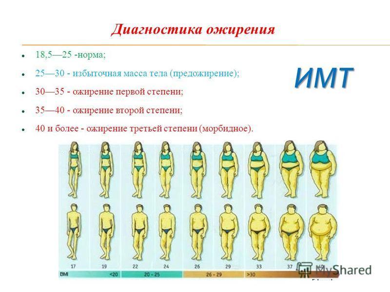 18,525 -норма; 2530 - избыточная масса тела (пред ожирение); 3035 - ожирение первой степени; 3540 - ожирение второй степени; 40 и более - ожирение третьей степени (морбидное). Диагностика ожирения ИМТ