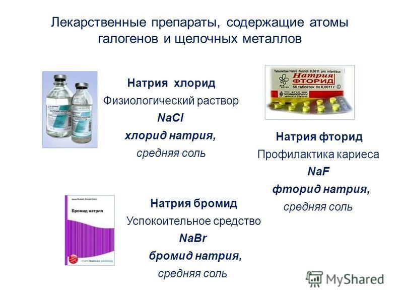 Лекарственные препараты, содержащие атомы галогенов и щелочных металлов Натрия хлорид Физиологический раствор NaCl хлорид натрия, средняя соль Натрия бромид Успокоительное средство NaBr бромид натрия, средняя соль Натрия фторид Профилактика кариеса N