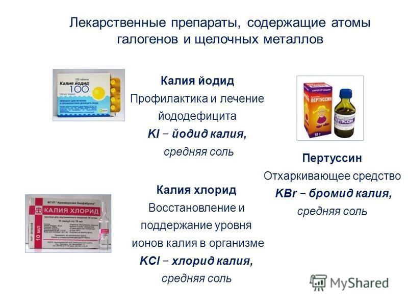 Пертуссин Отхаркивающее средство KBr бромид калия, средняя соль Калия хлорид Восстановление и поддержание уровня ионов калия в организме KCl хлорид калия, средняя соль Лекарственные препараты, содержащие атомы галогенов и щелочных металлов Калия йоди
