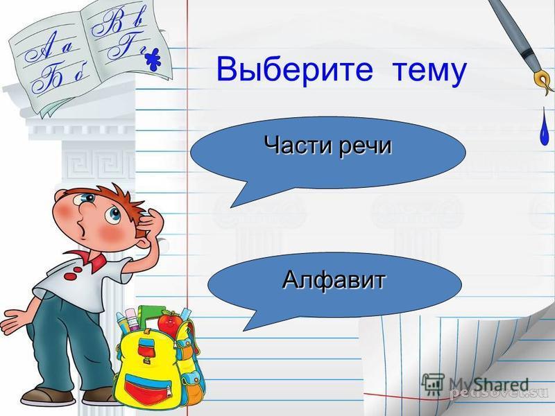 Выберите тему Части речи Части речи Алфавит