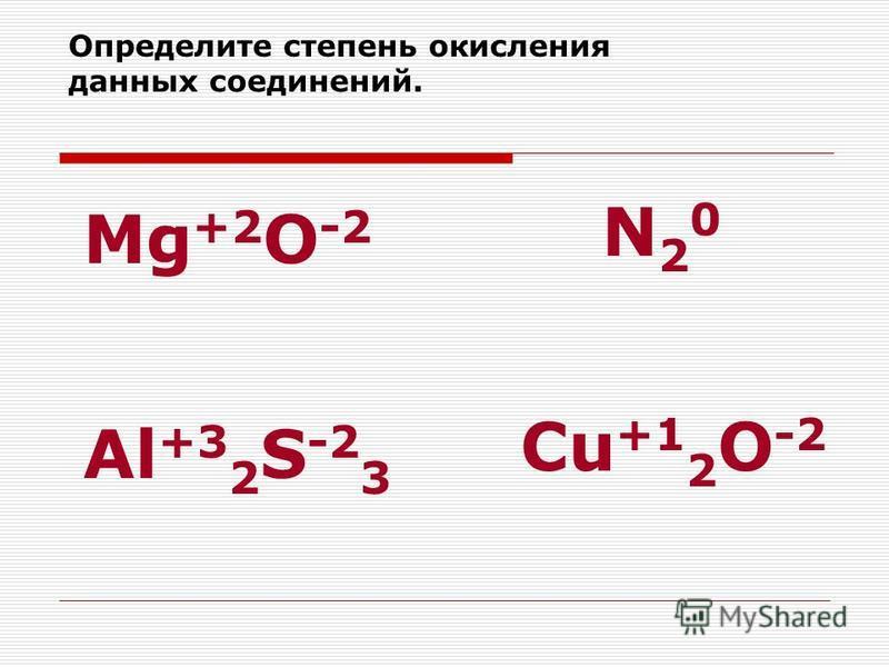 Определите степень окисления данных соединений. Mg +2 O -2 N20N20 Al +3 2 S -2 3 Cu +1 2 O -2