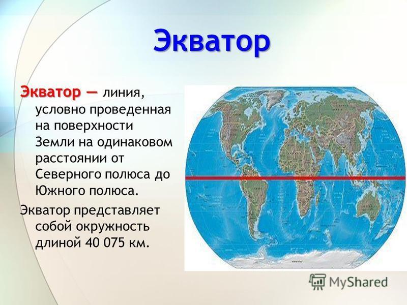 Экватор Экватор Экватор линия, условно проведенная на поверхности Земли на одинаковом расстоянии от Северного полюса до Южного полюса. Экватор представляет собой окружность длиной 40 075 км.