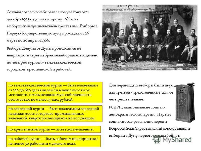 Созвана согласно избирательному закону от 11 декабря 1905 года, по которому 49% всех выборщиков принадлежала крестьянам. Выборы в Первую Государственную думу проходили с 26 марта по 20 апреля 1906. Выборы Депутатов Думы происходили не напрямую, а чер