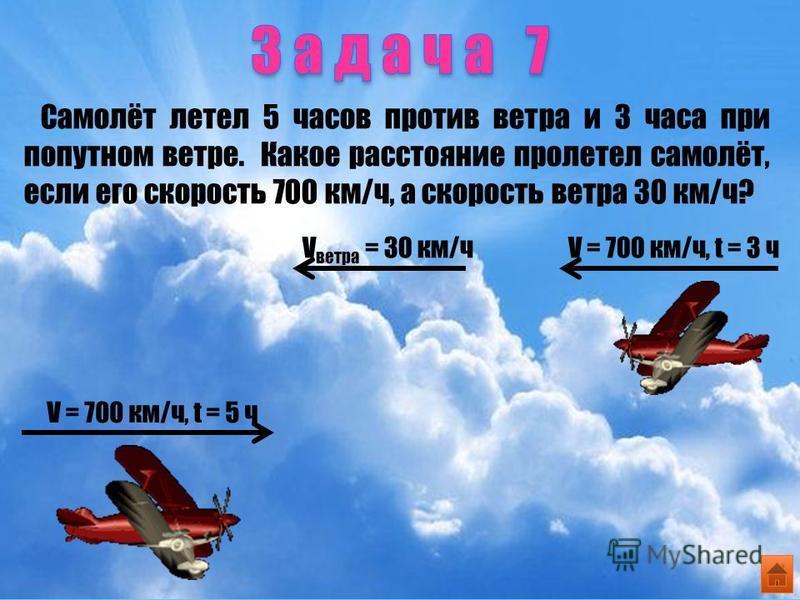 Самолёт летел 5 часов против ветра и 3 часа при попутном ветре. Какое расстояние пролетел самолёт, если его скорость 700 км/ч, а скорость ветра 30 км/ч? V = 700 км/ч, t = 5 ч V ветра = 30 км/чV = 700 км/ч, t = 3 ч
