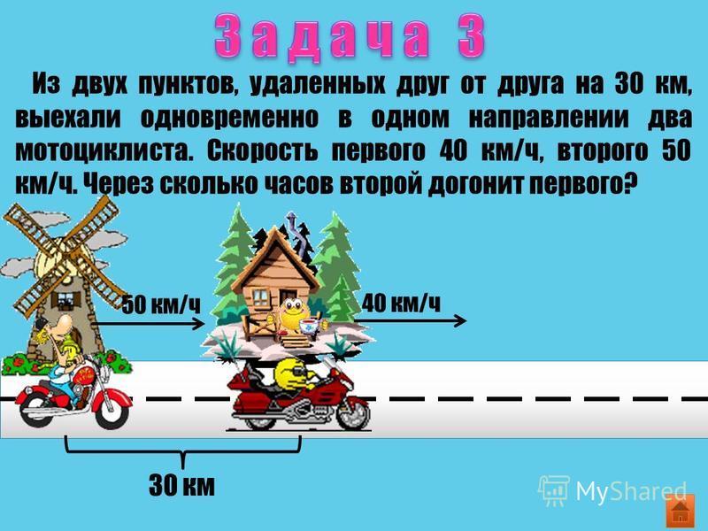 Из двух пунктов, удаленных друг от друга на 30 км, выехали одновременно в одном направлении два мотоциклиста. Скорость первого 40 км/ч, второго 50 км/ч. Через сколько часов второй догонит первого? 30 км 50 км/ч 40 км/ч