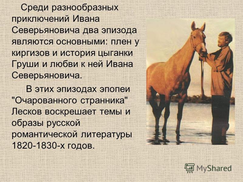 Среди разнообразных приключений Ивана Северьяновича два эпизода являются основными: плен у киргизов и история цыганки Груши и любви к ней Ивана Северьяновича. В этих эпизодах эпопеи