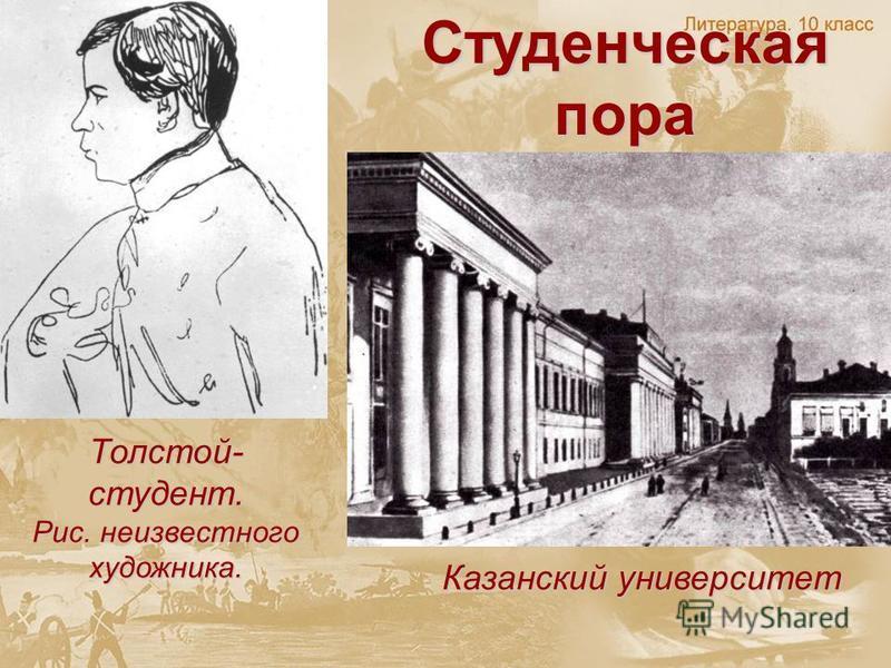 Студенческая пора Казанский университет Толстой- студент. Рис. неизвестного художника.