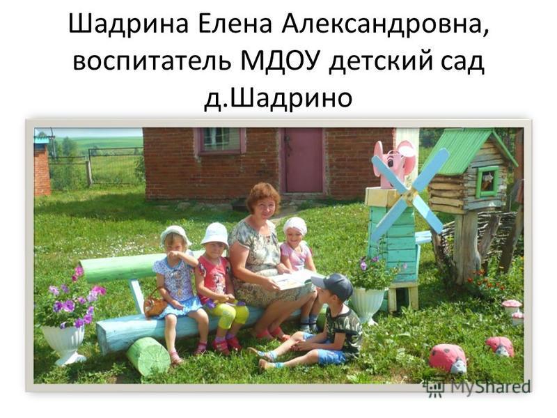 Шадрина Елена Александровна, воспитатель МДОУ детский сад д.Шадрино