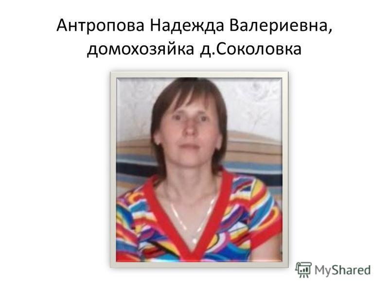 Антропова Надежда Валериевна, домохозяйка д.Соколовка