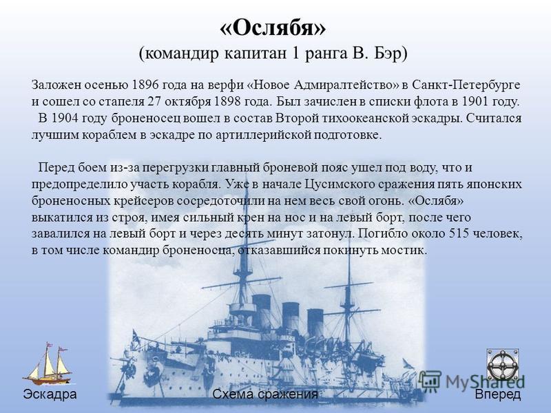 Эскадра Вперед Схема сражения «Ослябя» (командир капитан 1 ранга В. Бэр) Заложен осенью 1896 года на верфи «Новое Адмиралтейство» в Санкт-Петербурге и сошел со стапеля 27 октября 1898 года. Был зачислен в списки флота в 1901 году. В 1904 году бронено