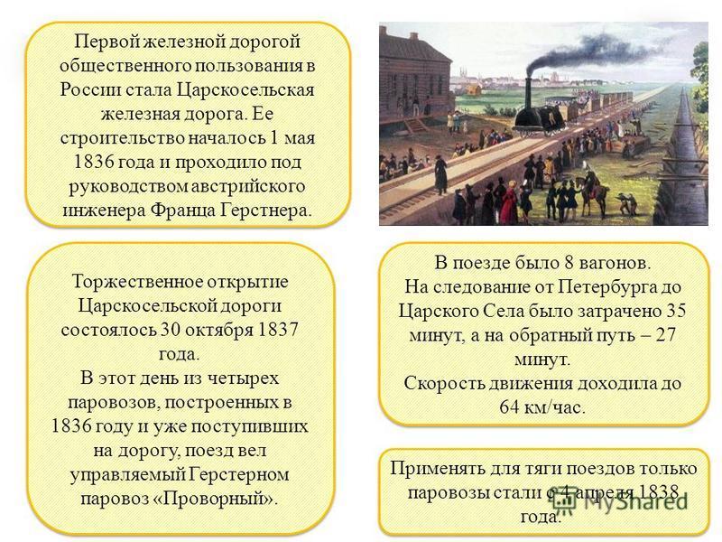 В поезде было 8 вагонов. На следование от Петербурга до Царского Села было затрачено 35 минут, а на обратный путь – 27 минут. Скорость движения доходила до 64 км/час. В поезде было 8 вагонов. На следование от Петербурга до Царского Села было затрачен