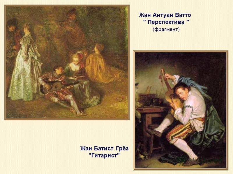 Жан Антуан Ватто  Перспектива  (фрагмент) Жан Батист Грёз Гитарист