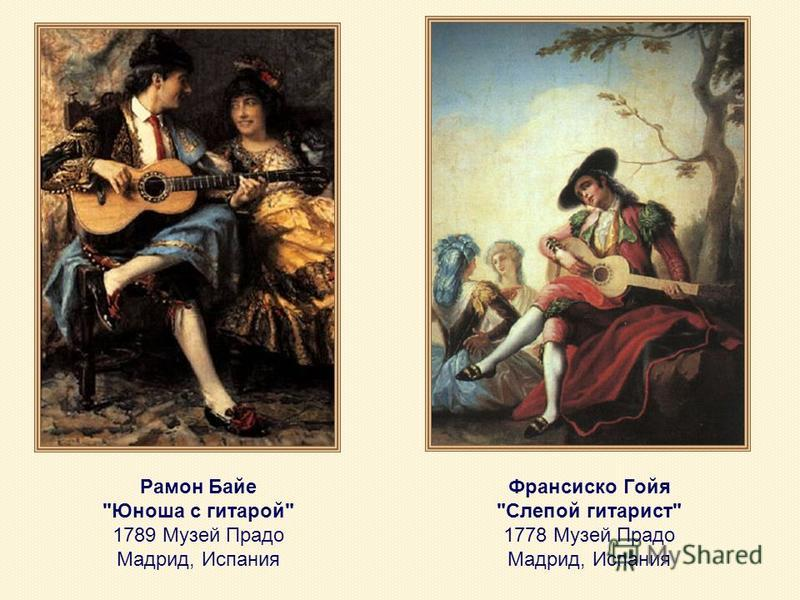 Рамон Байе Юноша с гитарой 1789 Музей Прадо Мадрид, Испания Франсиско Гойя Слепой гитарист 1778 Музей Прадо Мадрид, Испания