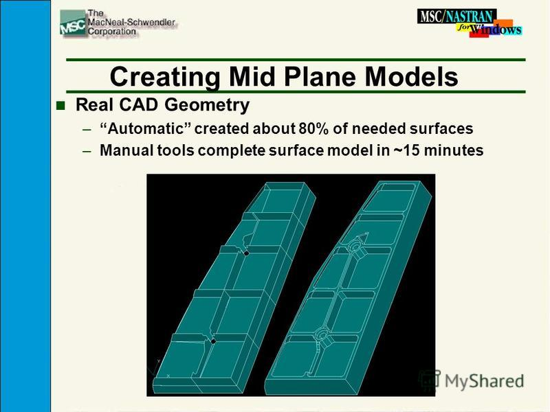 Creating Mid Plane Models n Real CAD Geometry –Automatic created about 80% of needed surfaces –Manual tools complete surface model in ~15 minutes