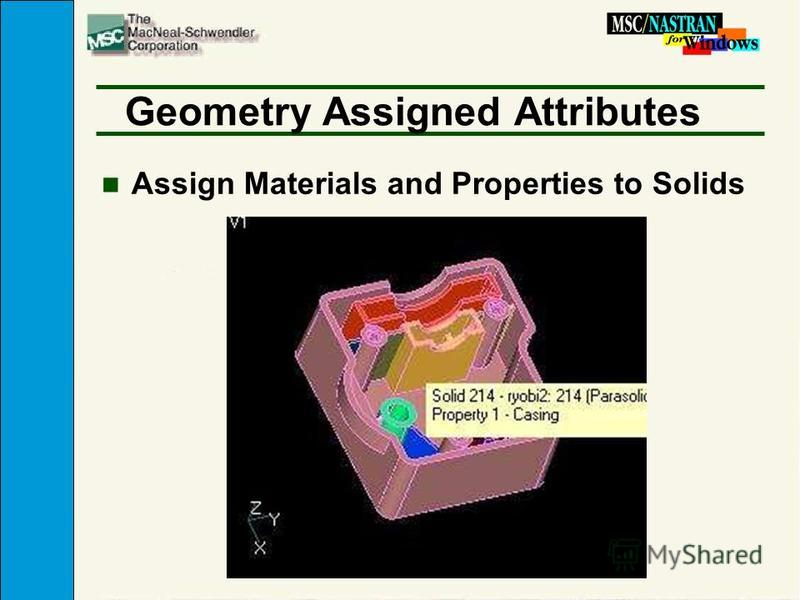 Geometry Assigned Attributes n Assign Materials and Properties to Solids