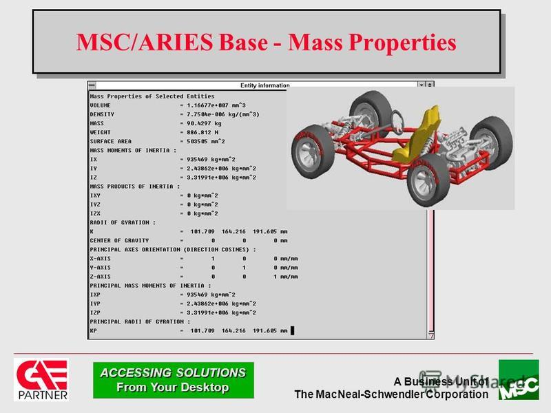 A Business Unit of The MacNeal-Schwendler Corporation ACCESSING SOLUTIONS From Your Desktop MSC/ARIES Base - Mass Properties