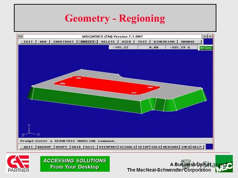 A Business Unit of The MacNeal-Schwendler Corporation ACCESSING SOLUTIONS From Your Desktop Geometry - Regioning