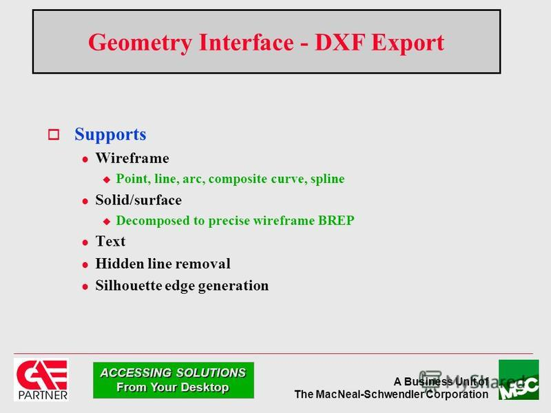A Business Unit of The MacNeal-Schwendler Corporation ACCESSING SOLUTIONS From Your Desktop Geometry Interface - DXF Export Supports l Wireframe u Point, line, arc, composite curve, spline l Solid/surface u Decomposed to precise wireframe BREP l Text