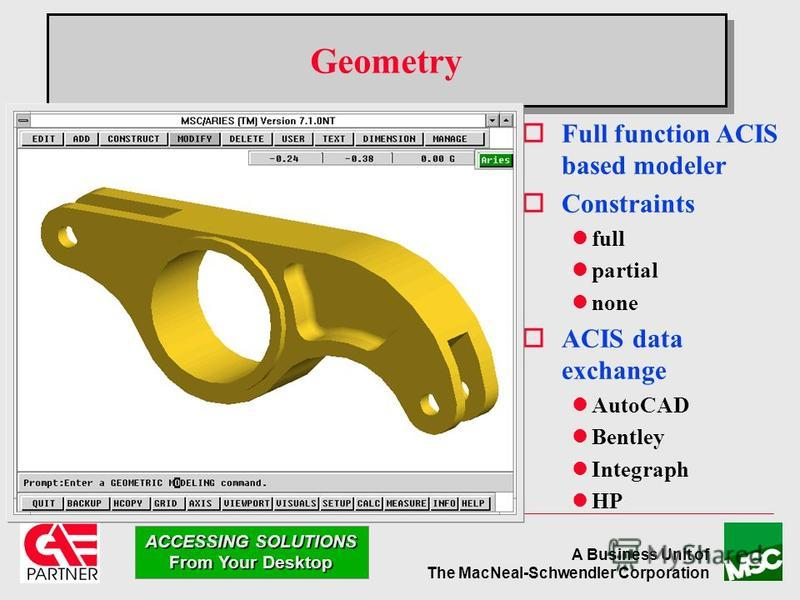A Business Unit of The MacNeal-Schwendler Corporation ACCESSING SOLUTIONS From Your Desktop Geometry oFull function ACIS based modeler oConstraints lfull lpartial lnone oACIS data exchange lAutoCAD lBentley lIntegraph lHP