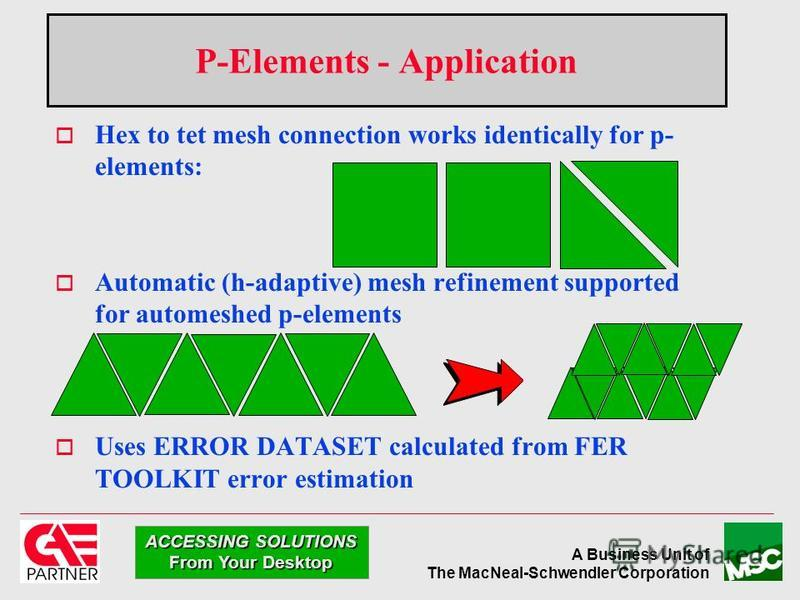 A Business Unit of The MacNeal-Schwendler Corporation ACCESSING SOLUTIONS From Your Desktop P-Elements - Application Hex to tet mesh connection works identically for p- elements: Automatic (h-adaptive) mesh refinement supported for automeshed p-eleme