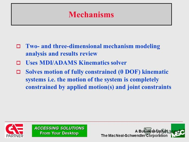 A Business Unit of The MacNeal-Schwendler Corporation ACCESSING SOLUTIONS From Your Desktop Two- and three-dimensional mechanism modeling analysis and results review Uses MDI/ADAMS Kinematics solver Solves motion of fully constrained (0 DOF) kinemati