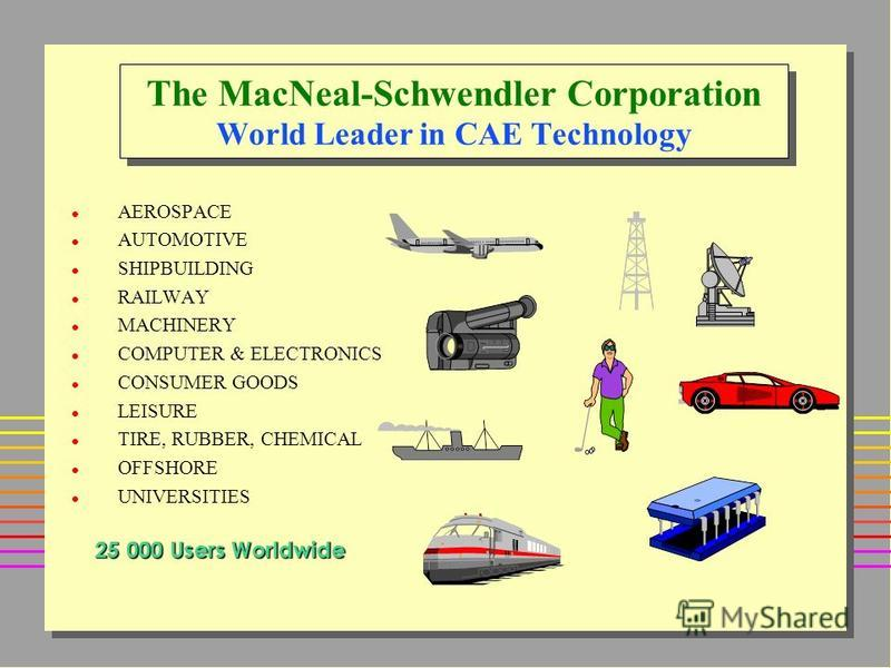 The MacNeal-Schwendler Corporation World Leader in CAE Technology l AEROSPACE l AUTOMOTIVE l SHIPBUILDING l RAILWAY l MACHINERY l COMPUTER & ELECTRONICS l CONSUMER GOODS l LEISURE l TIRE, RUBBER, CHEMICAL l OFFSHORE l UNIVERSITIES 25 000 Users Worldw