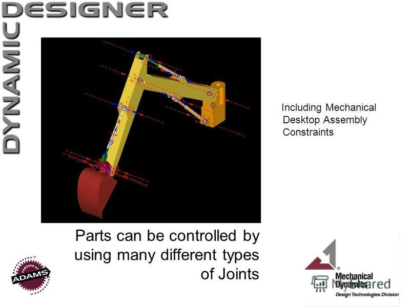 Parts can be controlled by using many different types of Joints Including Mechanical Desktop Assembly Constraints